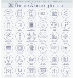 Finance and Banking Outline icon set vector image
