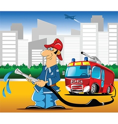 Fireman with hose vector image vector image