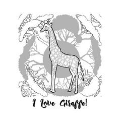 Giraffe and savanna trees print vector
