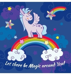 hand drawn unicorn standing on a rainbow vector image