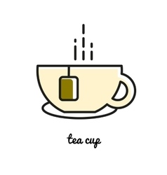 hot tea cup line icon vector image