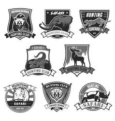 Hunting club safari hunt open season icons vector