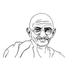 mahatma gandhi portrait black white vector image vector image