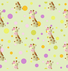 Pattern with cartoon cute toy baby giraffe vector