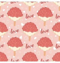 pink wedding seamless pattern with bouquet vector image