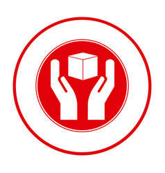 Red cube in the hands emblem icon vector