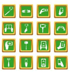 Selfie icons set green vector