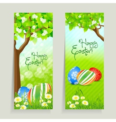 Set of Easter Cards with Grass and Tree vector image vector image