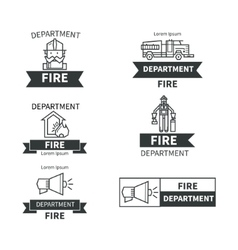 Set of labels fire safety vector