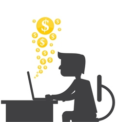 Silhouette of a man making money online vector image vector image