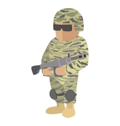 Soldier cartoon icon vector