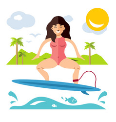 surfing flat style colorful cartoon vector image vector image