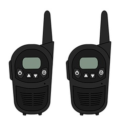 Two travel black radio set devices vector