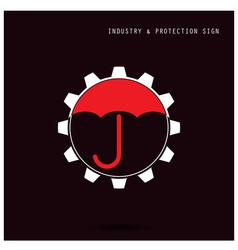 Umbrella sign and gear icon vector