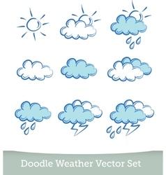 weather doodle set isolated on white background vector image