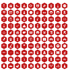 100 funny icons hexagon red vector image vector image