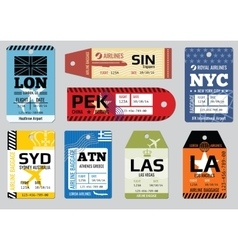 Vintage luggage tags travel labels set vector image