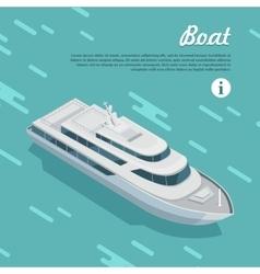Boat sailing in sea cruise liner passenger ship vector