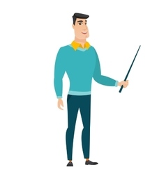 Caucasian business man holding pointer stick vector