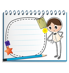 A notebook with a sketch of a boy watching his vector image