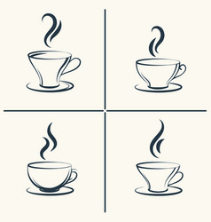 Coffee cups with smoke icon set vector