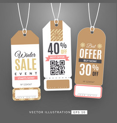 Set with sale labels winter sale event vector