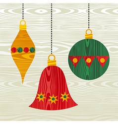 Christmas wooden decorations vector image