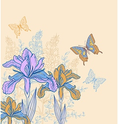 Decorative background with flowers and butterflies vector image