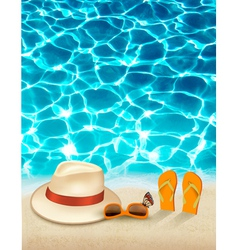 Vacation background with blue sea a hat and vector