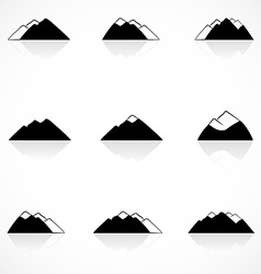 Black mountains icons vector
