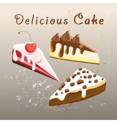 Tasty sweet cake vector
