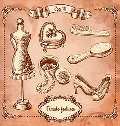 Scrapbook design elements - vintage lady set - vector
