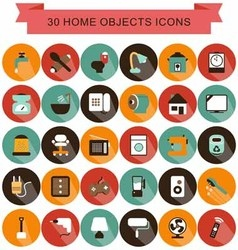 Home objects shadow icons vector