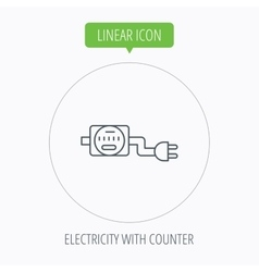 Electric counter icon electricity with plug vector