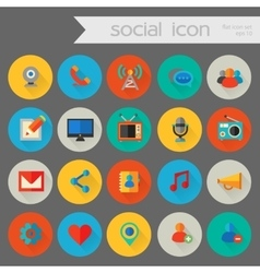 Detailed social icon set vector