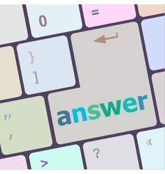 Answer button on the computer keyboard key vector
