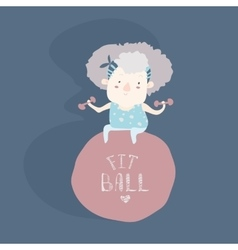 Elderly woman doing fitness with fitball vector