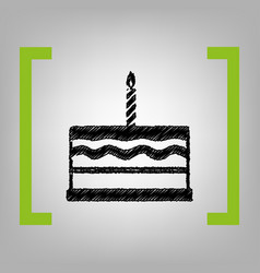 Birthday cake sign black scribble icon in vector