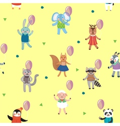 Birthday Celebration Pattern with Cute Animals vector image vector image