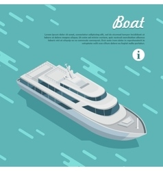 Boat sailing in sea cruise liner passenger ship vector