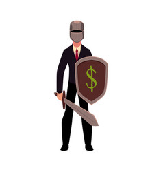 Businessman as knight in metal helmet holding vector