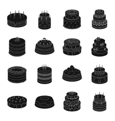 Cakes set icons in black style big collection of vector