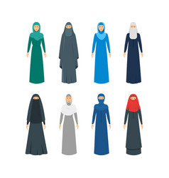 cartoon color middle east women religious apparel vector image