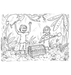 Cartoon coloring book with boy and girl found a vector