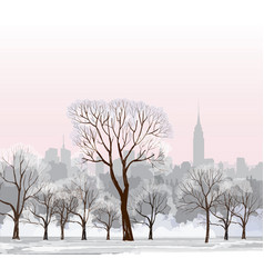 christmas winter cityscape snow new york city vector image