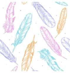 Feathers Hand Draw Sketch Background Pattern vector image vector image