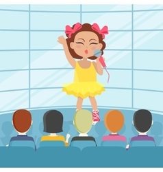 Girl singing song in front of audience vector