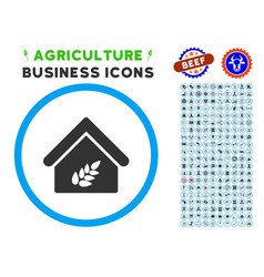 grain warehouse rounded icon with set vector image