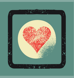 grunge texture love heart abstract background vector image