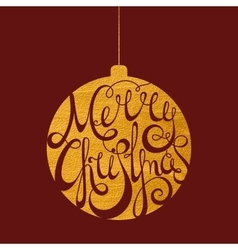 Lettering merry christmas in gold ball vector